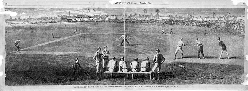 "File:Drawing from"" Harper's Weekly"" of July 2, 1870, Baseball - the match between the Red Stockings and the Atlantics, Sketched by C. S. Reinhart (NYPL b13537024-56619).jpg"