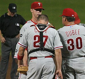Rich Dubee confers with Kyle Kendrick on the mound