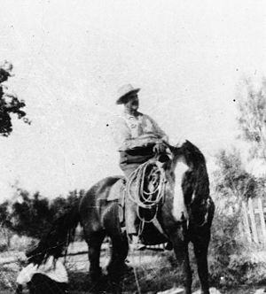 Juanita Brooks - Dudley H. Leavitt, father of Juanita (Leavitt) Brooks, photographed riding his horse 'Flax'