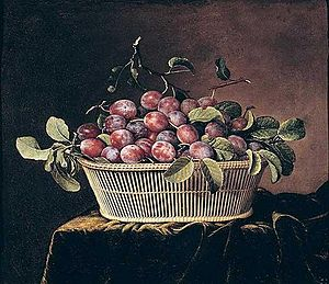 Basket - Basket of Plums, painting by Pierre Dupuis.