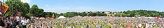 Durham Miners' Gala - Panorama beside the River Wear in 2014