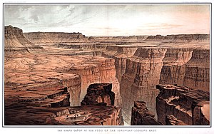 "History of the Grand Canyon area - ""Foot of Toroweap Looking East"" by William H. Holmes (1882). Artwork such as this was used to popularize the Grand Canyon area."