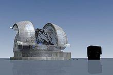 L'E-ELT confrontato con un telescopio esistente dell'Osservatorio del Paranal