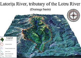 Vue numérique d'un relief et mise en évidence d'une rivière, de ses affluents et du périmètre de son bassin versant.