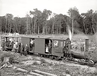 Forest railway - Shay locomotive on an American forest railway