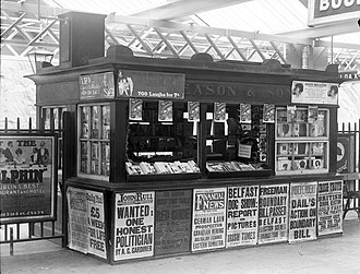 Book trade in the United Kingdom - Image: Easons Book Stall at Waterford Train Station (5835641182)