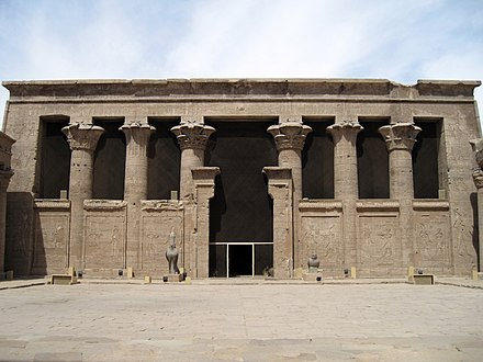 Forecourt of the Temple of Horus at Edfu, constructed under Ptolemy III. Edfu Tempel Pronaos 03.JPG