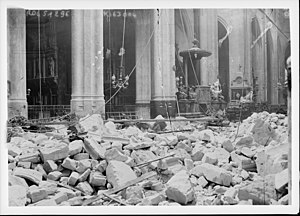Paris Gun - The damage to St-Gervais-et-St-Protais Church (1918)