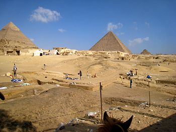 Archaeologists at work in Egypt