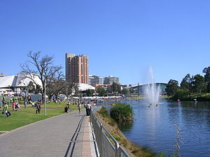 River Torrens - View of Elder Park, the Riverside Precinct and the Torrens Lake, before construction of the pedestrian bridge in 2014.