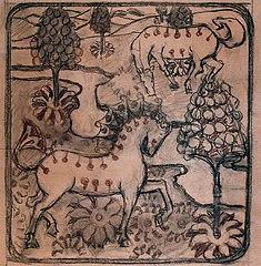 Cavalos - Estudo para tapeçaria ou papel de parede
