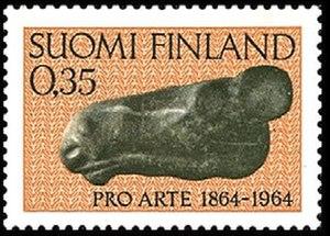 Art in Finland - Elk's Head on a 1964 Finnish stamp