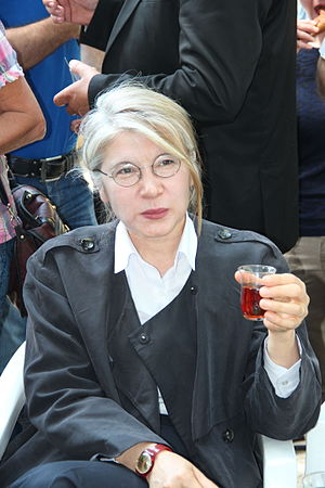 Tea in Turkey - Former Turkish MP Emine Ülker Tarhan drinking Turkish tea