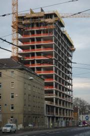 Baustelle des Energie-AG-Hochhauses Mitte Jänner 2007