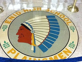Enid High School - The Enid High School seal on the floor of the main hall of the high school.