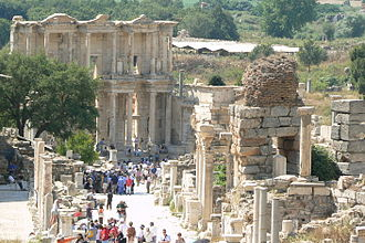 Late antiquity - View west along the Harbour Street towards the Library of Celsus in Ephesus, present-day Turkey. The pillars on the left side of the street were part of the colonnaded walkway apparent in cities of Late Antique Asia Minor.