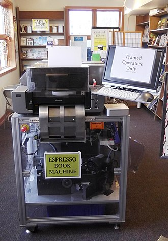 Self-publishing - An Espresso Book Machine at a bookstore.