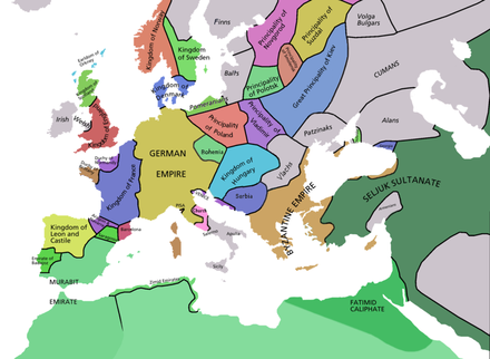 Kaart van Europa in 1092 Europe in 1092AD