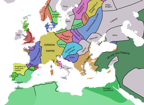 Map of Europe in 1092