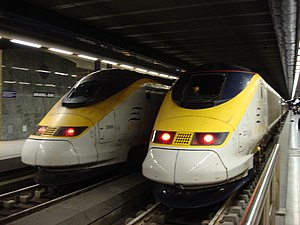 2 Eurostars or British Rail Class 373's at Bru...