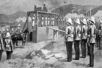 International Squadron (Cretan intervention, 1897–1898) - Illustration of the hanging on 18 October 1898 of the first seven men convicted of murdering British subjects in the Candia riot. (Illustration from The Graphic, 5 November 1898.)