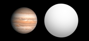 HAT-P-13b - Size comparison of HAT-P-13b with Jupiter.