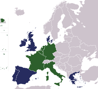European Communities - Founding members in green, later members in blue (Algeria was integral part of France at the time)