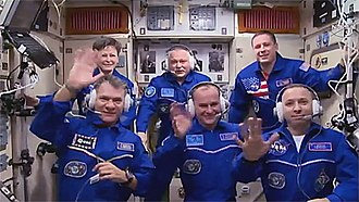 Soyuz MS-05 - Crew from Soyuz MS-05 with other crew members aboard ISS