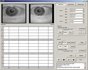 English: GUI of the Eye Tracking Device Software