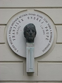 F. O. Poupě, plaketa, Starobrněnská 22, a.JPG