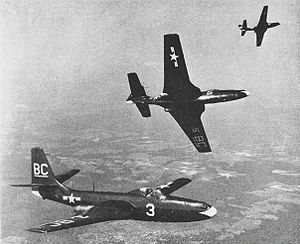 McDonnell FH Phantom - Three FH-1 Phantoms of VMF-122 in 1949