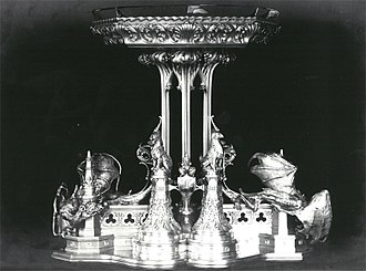 Neo-Gothic Alexander and Barbara Kelch's silver service - Part of the Kelch silverware. High epergne. Photo 1900.