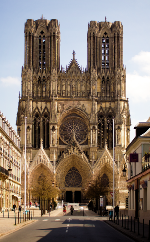 Reims Cathedral - Facade, looking northeast