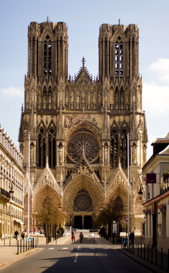 High Gothic west front, Reims Cathedral (1211-) Facade de Notre Dame de Reims.png