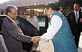 Fakhruddin Ahmed being seen off by the Union Minister for Information & Broadcasting and Parliamentary Affairs, Shri Priyaranjan Dasmunsi, at Indira Gandhi International Airport, in New Delhi on April 05, 2007.jpg