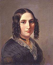 Porträt der Fanny Hensel nach einem Ölgemälde des Malers Moritz Daniel Oppenheim aus dem Jahr 1842 (Quelle: Wikimedia)