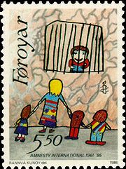 1986 Faroe postage stamp celebrating AI's 25th anniversary - Painting by 11 year old Rannvá Kunoy