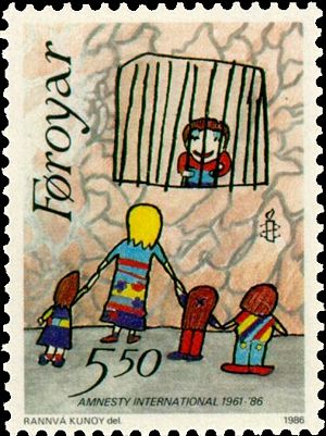 1986 Faroe postage stamp celebrating Amnesty's...