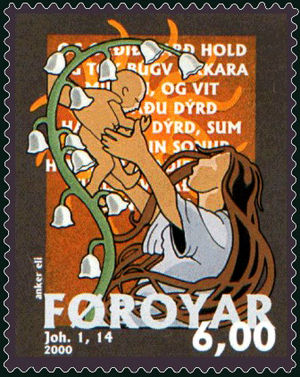 Christmas stamp 2000 from Faroe Island, featur...