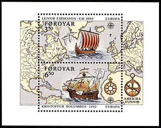 Faroe stamps 225-226 Discovery of America.jpg