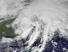 The storm complex tracking across the United States East Coast on