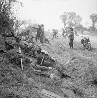 Operation Cobra - Men of the 1st Battalion, Welsh Guards, part of the 32nd Guards Brigade of the Guards Armoured Division, in action near Cagny, 19 July 1944.