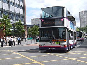 First Glasgow - Plaxton President bodied Dennis Trident 2 in Glasgow in July 2007