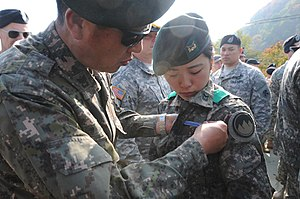 Expert Infantryman Badge - 1st ROK female soldier to earn the EIB, circa 2014