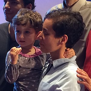 First Woman Fields medallist plus daughter (cropped).jpg