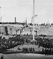 Flag-raising Fort Sumter Charleston Harbor 1865