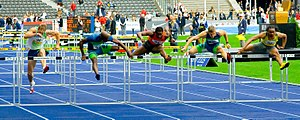 Hurdling - 110m Hurdle Race in Berlin, Germany 2006.  With Aries Merritt, Dayron Robles. and Allen Johnson.