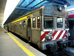 Sorefame - Stainless steel diesel railcar 0614, built by Sorefame, at Oporto Campanhã station.