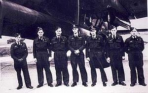 Operation Catechism - RAF Flight Lieutenant John Leavitt (center) and crew prior to taking off on Operation Catechism