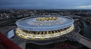 London Stadium - Image: Floodlit London Stadium